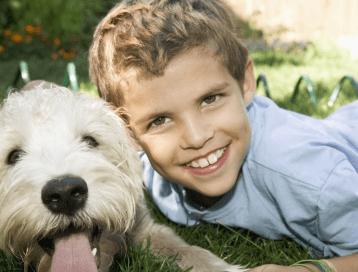 可爱小男孩与狗狗玩耍,2018宝宝取名大全