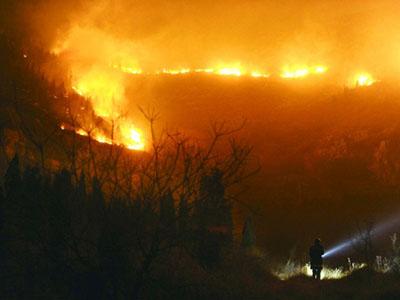 山火发生现场。展现山头火